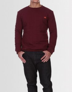 Kear&Ku Quilted Continental Long Sleeved Sweater Burgundy