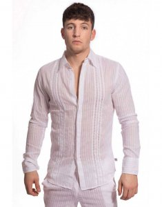 L'Homme Invisible Barbados Long Sleeved Shirt White HW126-BA...