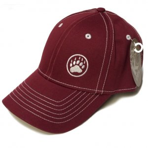 Ajaxx63 Bear Paw Logo Hat Dark Cardinal Red CP23