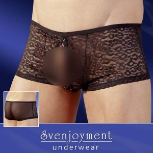 Svenjoyment Leopard Powernet Lacing Pouch Boxer Brief Underwear Black/Transparent 2130742