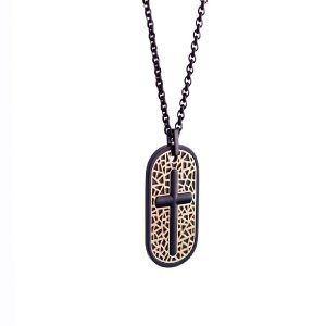 Italgem Steel Inlay Dogtag Cross Necklace Gold/Black