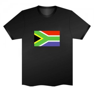 LED Electro Luminescence Flag Of South Africa Funny Gadgets Rave Party Disco Light T Shirt Black 31788