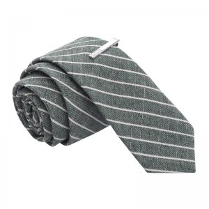 Skinny Tie Madness Grey's Anatomical Parts Striped Skinny Tie & Tie Clip SKM3102