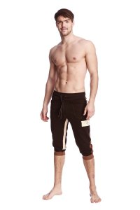 4-rth Tri Color Edge Cuffed Yoga 3/4 Pants Black/Chocolate/Sand