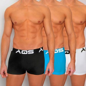 AQS [3 pack] Sport Boxer Brief Underwear Black/Light Blue/White SBLW