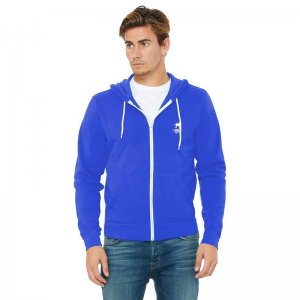 CA-RIO-CA Logotipo Zip Up Hoodie Long Sleeved Sweater Blue/W...
