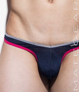 Mategear Ro Si Tapered Sides V Front Ultra Pouch Thong Swimwear Navy 1491003