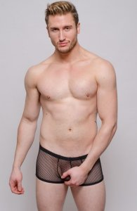 Tartarus Fish Net B Out Boxer Brief Underwear Black TRU-208