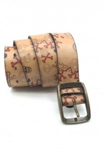 Spy Henry Lau Skull Print Pin Buckled Casual Belt Brown SP78...
