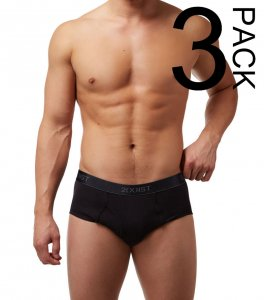 2(x)ist [3 Pack] Cotton Fly Front Brief Underwear Black 3102003903-004NL