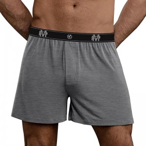 Male Power Bamboo Loose Boxer Shorts Underwear Grey 160-253