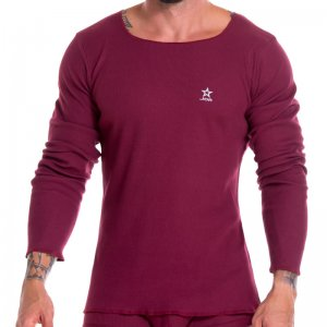 Jor Arizona Rib Scoop Neck Long Sleeved T Shirt Wine 0921