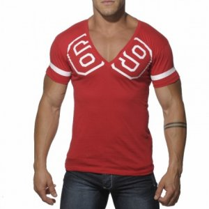 Addicted 69 V Neck Short Sleeved T Shirt Red AD199