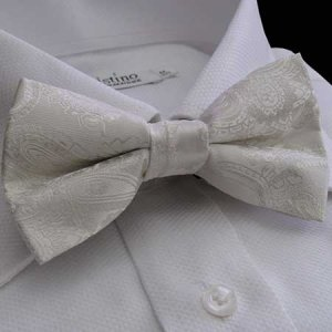 Distino Of Melbourne Paisley Bow Tie Ivory DB8