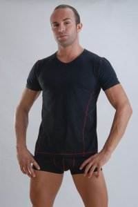 Geronimo Short Sleeved T Shirt Black/Red Thread 958T3