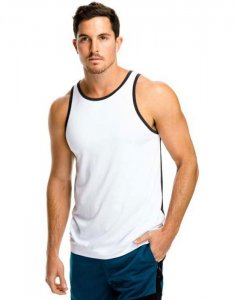 teamm8 Activewear Halfback Athletic Tank Top T Shirt White/Charcoal