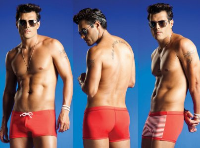 Vuthy Reversible Square Cut Trunk Swimwear Red 206