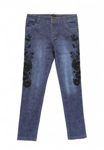Spy Henry Lau Embroidery Jeans Pants Blue 5624MPTBUE
