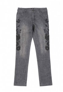 Spy Henry Lau Embroidery Jeans Pants Black 5624MPTBLK