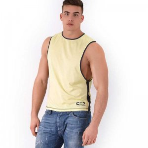 Roberto Lucca CC7 Large Armhole Muscle Top T Shirt Yellow 70...