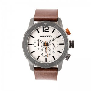 Breed Manuel Chronograph Leather-Band Watch w/Date - Gunmeta...
