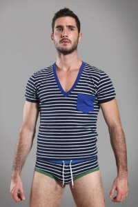 Buns Pocket Stripe V Neck Short Sleeved T Shirt Marine/Cobalt Blue G-60-VN-4-TCO-60