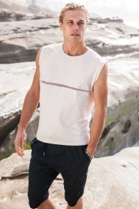 Sauvage Mesh Front Bamboo Muscle Top T Shirt Cream