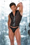 Allure Men's Leather & Fishnet Zip Up Muscle Top T Shirt 26-183