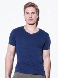 N2N Bodywear Basic V Neck Short Sleeved T Shirt Navy BC3