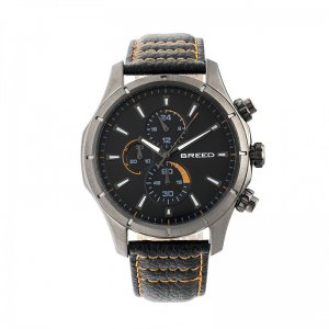 Breed Lacroix Chronograph Leather-Band Watch - Gunmetal/Char...