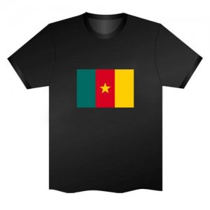 LED Electro Luminescence Flag Of Cameroon Funny Gadgets Rave Party Disco Light T Shirt Black 31787