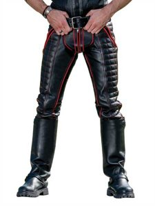 Mister B Piping Leather Indicator Jeans Pants Black/Red 1132...
