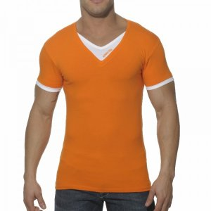 Addicted Double Effect V Neck Short Sleeved T Shirt Orange/White AD121