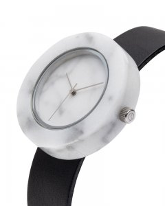 Analog Watch Mason Circular White Marble Body & Black Strap Watch SB-WO