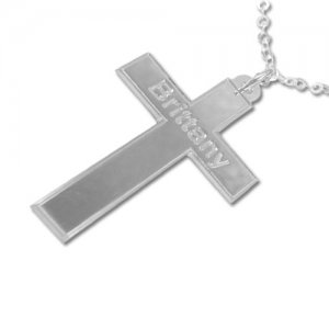 Personalized Men's Jewelry Personalized Sterling Silver Cross Pendant with Grooved Edges Necklace 110-01-112-02