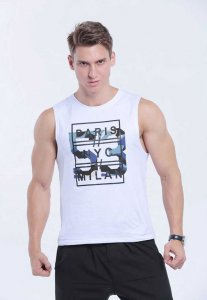 Spy Henry Lau Printed Muscle Top T Shirt White PH398MVT