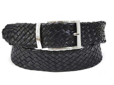 Paul Parkman Woven Leather Belt Black B07-BLK