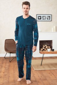 Doreanse Plaid Henley Long Sleeved T Shirt & Plaid Pants Set...