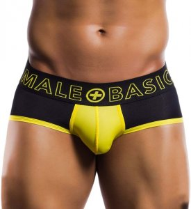 MaleBasics Neon Sport Brief Underwear Black/Yellow MBN03