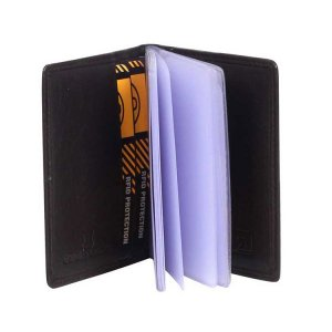 Zoomlite Boston Leather RFID Card Holder With Inserts Wallet Chocolate