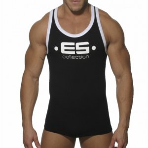 ES Collection Muscle Back Tank Top T Shirt Black/White 202