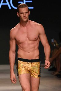 Sauvage Metallic Side Stripe Square Cut Trunk Swimwear Gold 252GLD