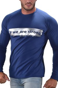 Roberto Lucca We Are Strong Sweat Long Sleeved T Shirt Navy Blue 10259-00137