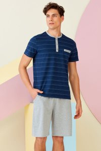 Doreanse Pocket Stripe Henley Short Sleeved T Shirt & Shorts Set Pyjamas Loungewear 4516