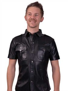 Mister B Sheep Leather Police Short Sleeved Shirt Black 1609...