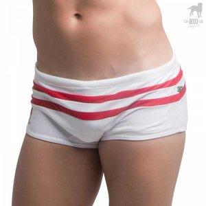CA-RIO-CA Hamptons Traditional Cut Square Cut Trunk Swimwear White CRC-S122202