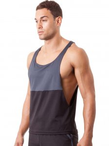 N2N Bodywear Slim Gym Tank Top T Shirt Black/Charcoal SS1