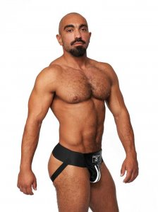 Mister B Leather Premium Jock Strap Underwear Black/White 23...
