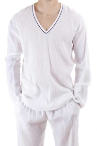L'Homme Invisible Breeze Cotton Tunique V Neck Long Sleeved ...