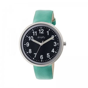 Simplify The 2600 Leather-Band Unisex Watch - Black/Turquoise SIM2605